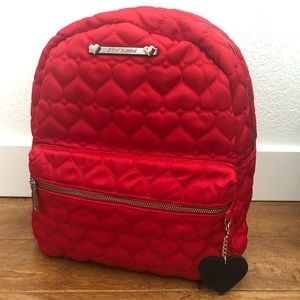 NWOT Betsey Johnson Red Heart Quilted Backpack